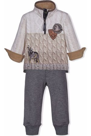 Lapin House Boys Sports Hoodies - Knit-print pullover tracksuit - Grey