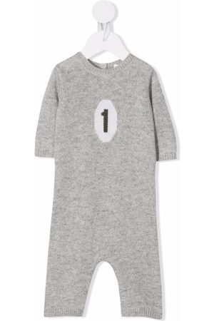 BONPOINT Baby Rompers - Intarsia-knit cashmere romper - Grey