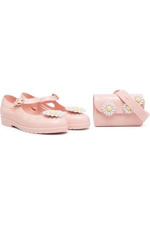 Mini Melissa Girls Ballerinas - Daisy-embellished ballerinas and pouch