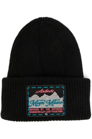 Msgm Men Beanies - Logo patch ribbed beanie
