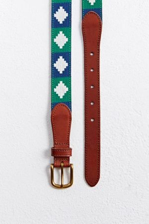 Urban Outfitters Men Belts - Diamond Pattern Needlepoint Belt