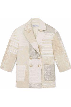 Dolce & Gabbana Girls Blazers - Patchwork double-breasted blazer - Neutrals