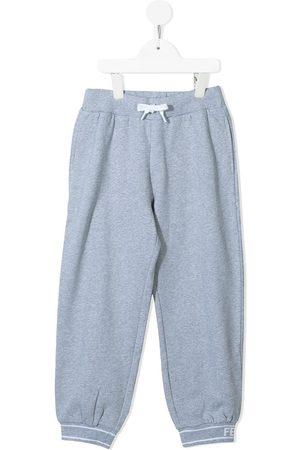 Fendi Drawstring cotton track pants - Grey