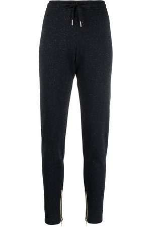 Love Moschino Glitered cotton-blend track trousers