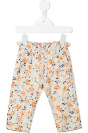 BONPOINT Chinos - Floral-print elasticated trousers - Neutrals