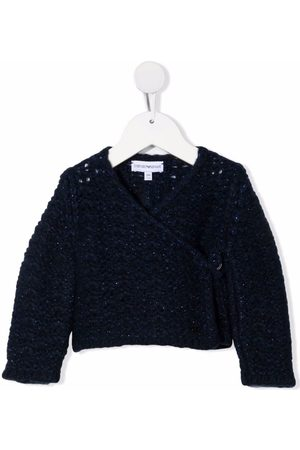 Emporio Armani Cardigans - Metallic-knit wrap cardigan