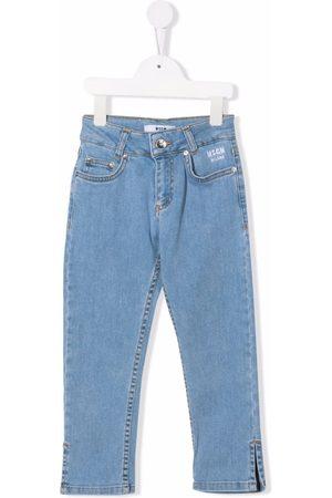 Msgm Girls Straight - Glitter logo straight jeans