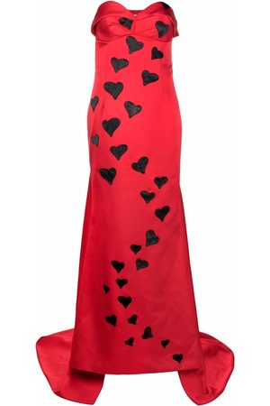 Moschino Heart-sequin trailed gown