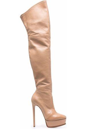 Casadei Women Thigh High Boots - Flora over-the-knee boots - Neutrals