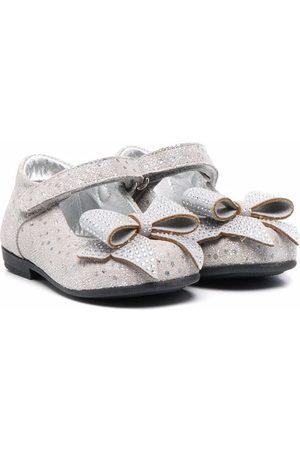 MONNALISA Girls Ballerinas - Bow-detail ballerina shoes - Grey