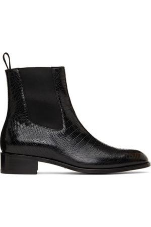 Tom Ford Men Chelsea Boots - Black Croc Chelsea Boots
