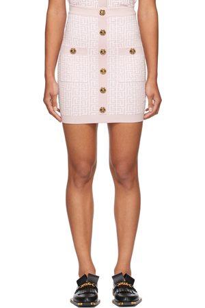 Balmain Women Mini Skirts - Pink & White Knit Monogram Button Miniskirt
