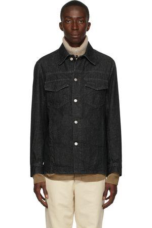 DRIES VAN NOTEN Men Denim Jackets - Black Denim Shirt Jacket