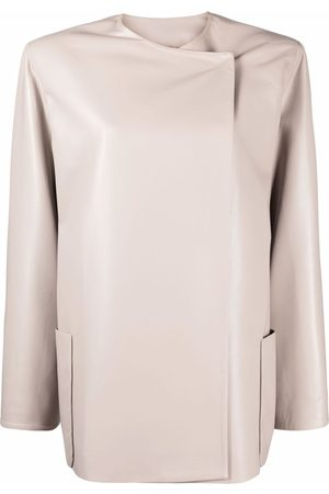 The Andamane Faux-leather collarless mid-length jacket - Neutrals