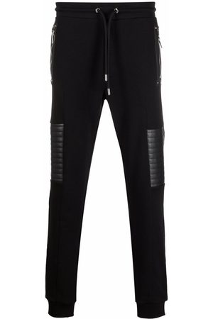 Les Hommes Quilted-panel logo-patch track pants