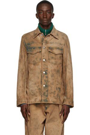 DRIES VAN NOTEN Men Denim Jackets - Beige Denim Dyed Jacket