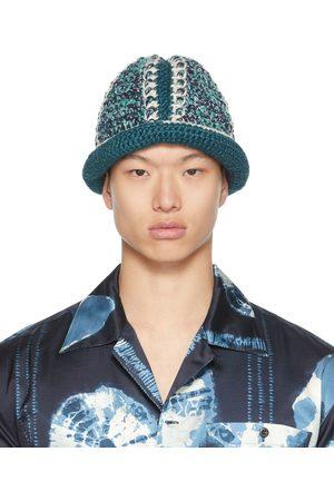 Nicholas Daley Men Hats - Navy & Blue Hand-Crocheted Bucket Hat