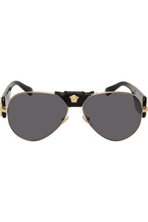 VERSACE Men Aviators - Black & Gold Medusa Aviator Sunglasses