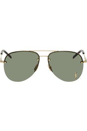 Saint Laurent Gold Classic SL 11 Aviator Sunglasses