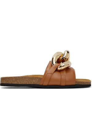 J.W.Anderson Men Loafers - Tan Chain Loafer Slides