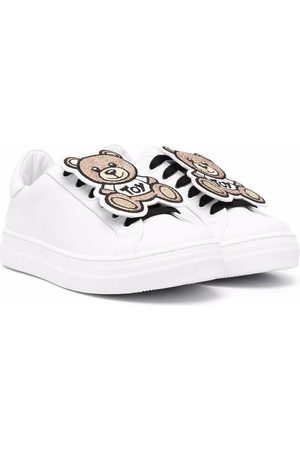 Moschino Girls Sneakers - Teddy lace-up leather sneakers