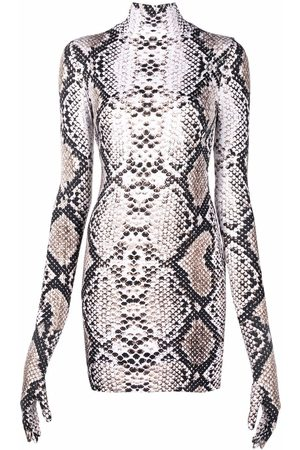 Vetements Snakeskin-print mini dress - Neutrals