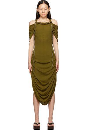 Loewe Women Strapless Dresses - Khaki Off-The-Shoulder Dress