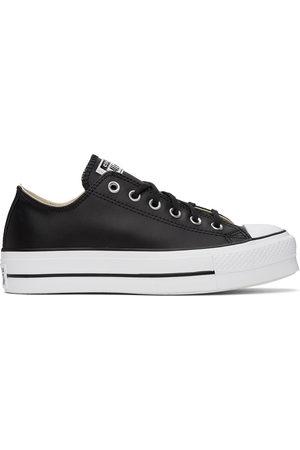Converse Men Platform Sneakers - Black Leather Chuck Taylor All Star Platform Sneakers