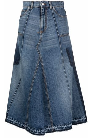 Alexander McQueen Women Midi Skirts - Flared denim midi skirt