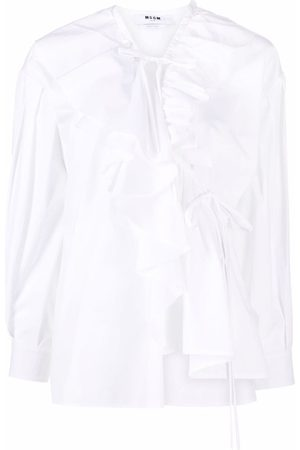 Msgm Women Wrap tops - Ruffled-trim wrap blouse