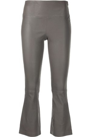 THEORY Mid-rise cropped leather trousers - Neutrals