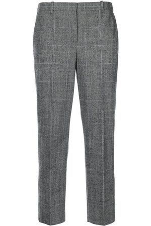 THEORY Check-print wool cropped trousers - Grey
