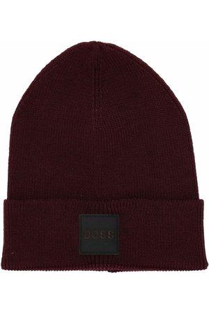 HUGO BOSS Ribbed logo patch beanie hat