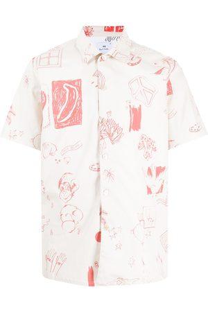 Paul Smith Men Short sleeves - Drawing-print shortsleeved shirt - Neutrals