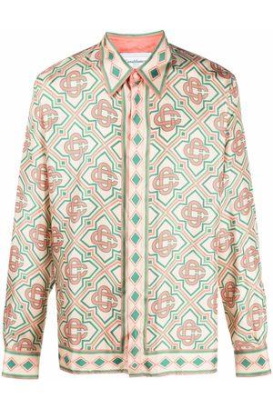 Casablanca Monogram-print silk shirt - Neutrals