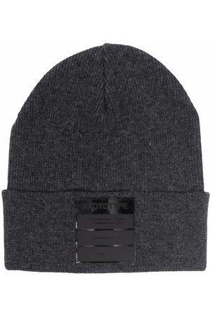 Paolo Pecora Boys Beanies - Fine knit logo-patch beanie - Grey