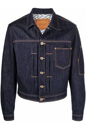 VERSACE Men Denim Jackets - Contrast-stitch denim jacket