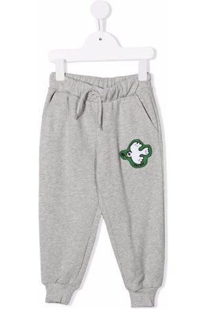 Mini Rodini Girls Sweatpants - Peace-dove print track pants - Grey