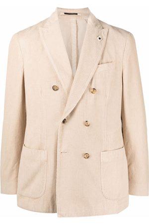 LARDINI Double breasted cotton blazer - Neutrals