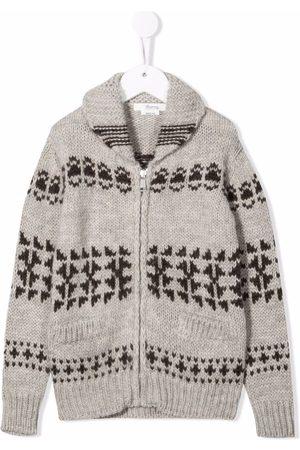 BONPOINT Patterned-intarsia-knit zipped cardigan - Grey