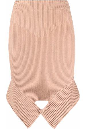 Adamo Ribbed-knit asymmetric skirt - Neutrals