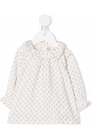 BONPOINT Baby Blouses - Floral-print ruffled blouse - Neutrals