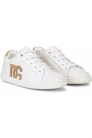Dolce & Gabbana Girls Sneakers - DG logo leather sneakers