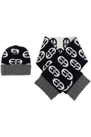 Emporio Armani Boys Beanies - Logo-print scarf and beanie set