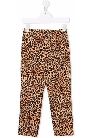 CAROLINE BOSMANS Girls Straight Leg Pants - Animal-print straight-leg trousers - Neutrals