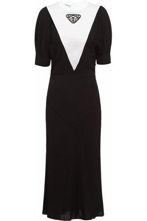 Prada Women Dresses - Contrasting-panel short-sleeve dress