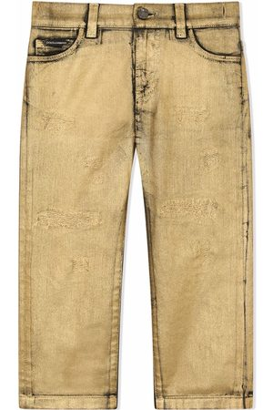 Dolce & Gabbana Boys Straight - Distressed straight-leg jeans - Neutrals