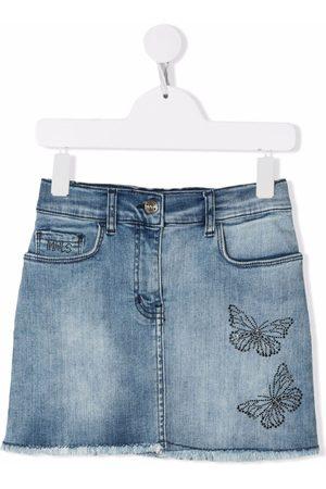 MONNALISA TEEN butterfly-embroidered denim skirt