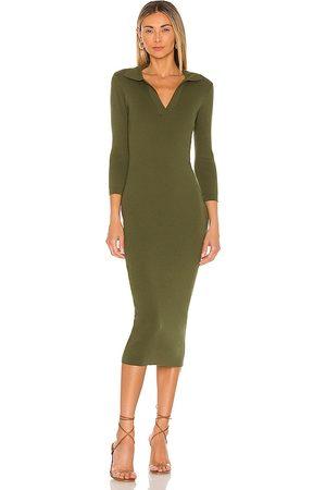 LINE & DOT Women Midi Dresses - Brittany Ribbed Midi Dress in Olive.
