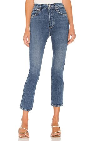 AGOLDE Women High Waisted - Riley High Rise Straight Crop in Blue.
